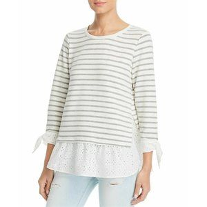 Chenault Tops - Status by Chenault Ivory Gray Stripe LS Eyelet Top